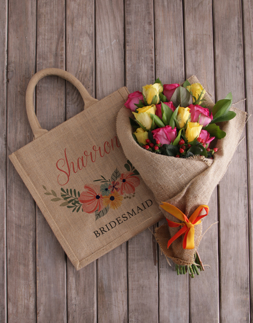 personalised: Personalised Bridesmaid Roses In A Tote!