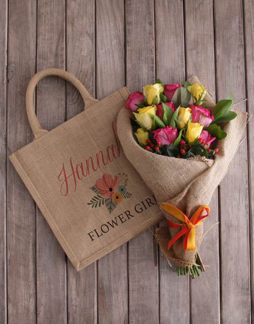 personalised: Personalised Flower Girl Roses In A Tote!