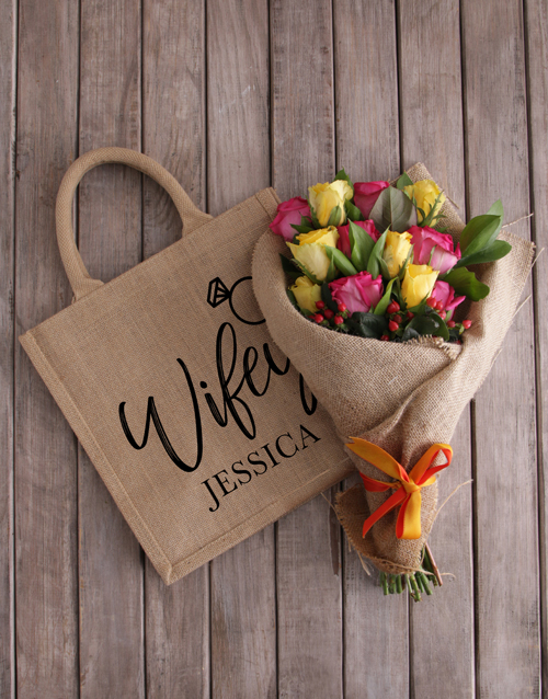 personalised: Personalised Wifey Roses In A Tote!