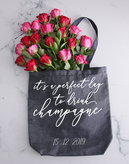 personalised: Personalised Champagne Denim Tote With Roses!