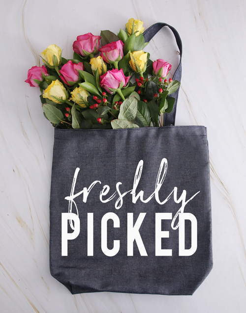 flowers: Freshly Picked Denim Tote With Roses!