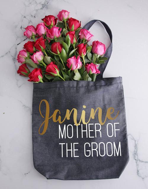 personalised: Personalised Grooms Mom Denim Tote And Roses!
