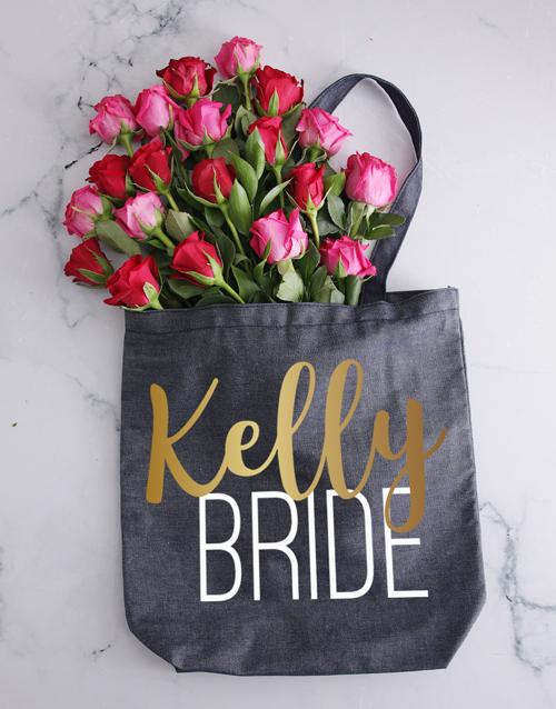 personalised: Personalised Bride Denim Tote With Roses!