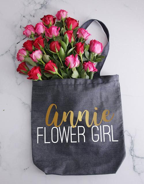 personalised: Personalised Flower Girl Denim Tote And Roses!