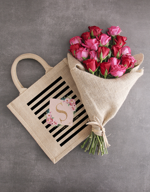 personalised: Personalised Modern Tote With Roses!