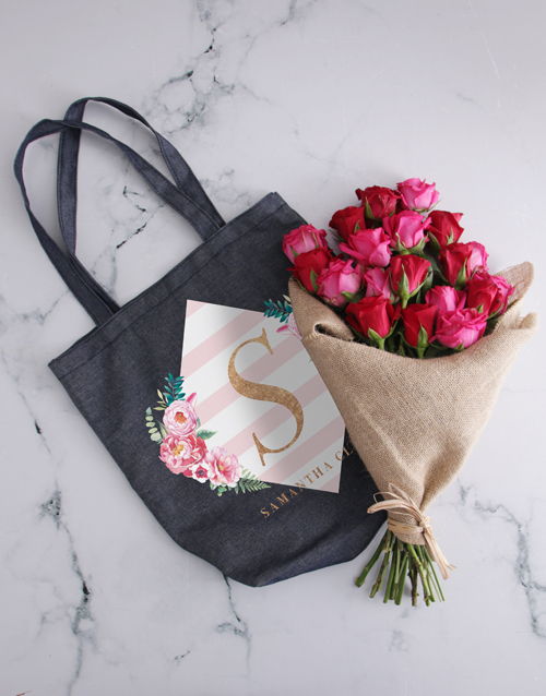 personalised: Personalised Diamond Denim Tote With Roses!