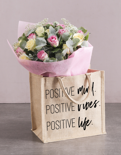 colour: Positive Hessian Tote With Roses!
