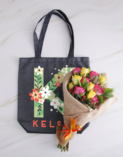 personalised: Personalised Blooming Denim Tote With Roses!