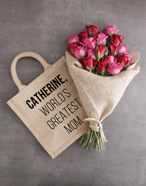 personalised: Personalised Greatest Mom Roses In A Tote!