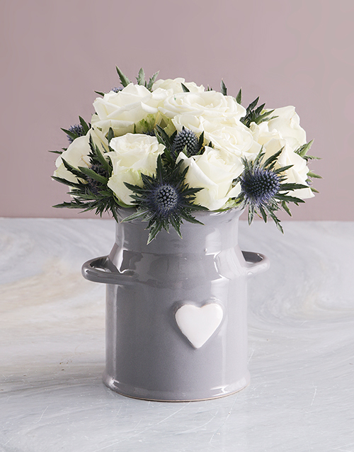 sympathy: White Roses In Ceramic Milk Can!