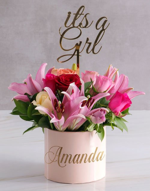 in-a-box: Personalised Mixed Floral Beauty In Hat Box!