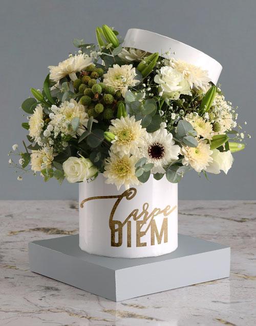 birthday: Hat Box Of Mixed Flowers!