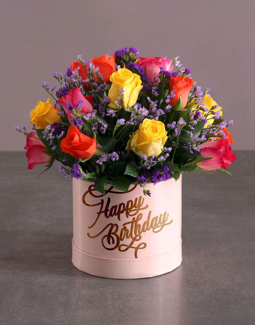 in-a-box: Birthday Mixed Flowers Hat Box!