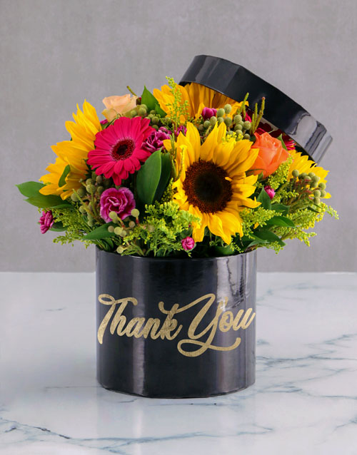 in-a-box: Gratitude Mixed Flowers Hat Box!