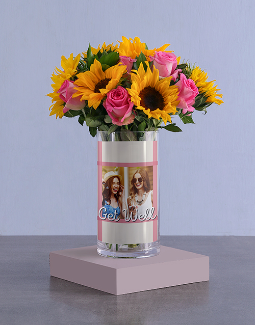 personalised: Get Well Mixed Flowers In Photo Vase!