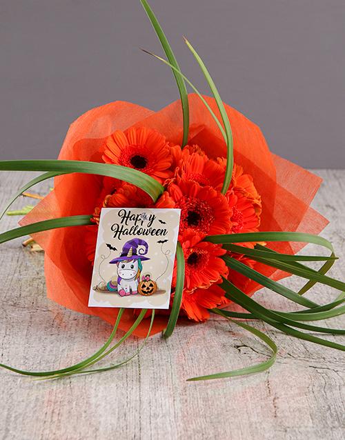 halloween: Pumpkin Gerbera Halloween Bouquet Gift!