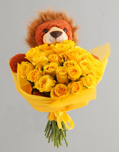 flowers: Sunny Day Roses And Teddy Gift For Baby!