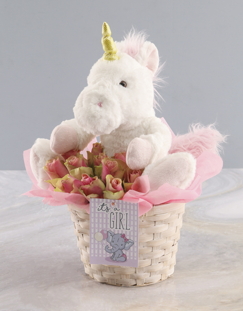 teddy-bears: Roses And Teddy Basket Gift For Baby Girl!