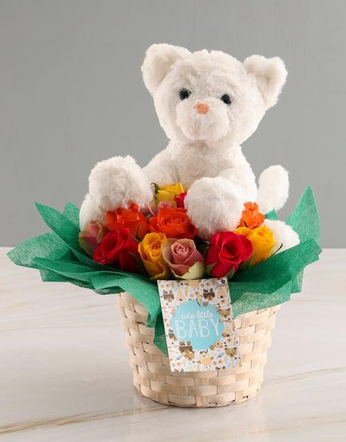 teddy-bears: Rose And Teddy Baby Basket!