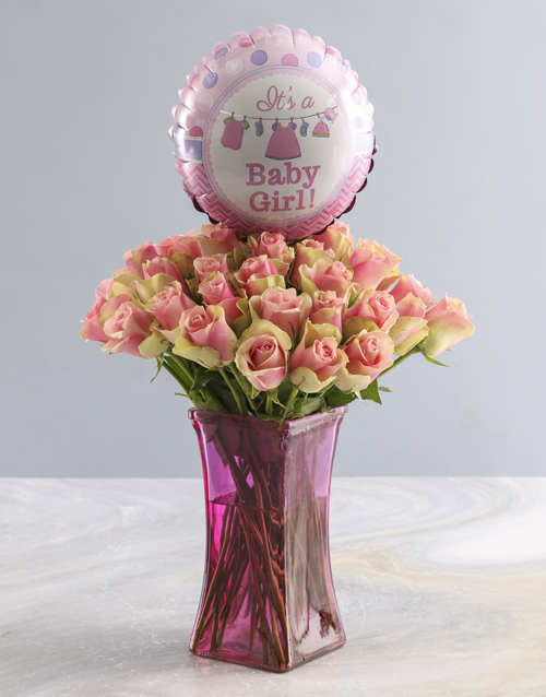 balloon: Its a Baby Girl Rose Vase!