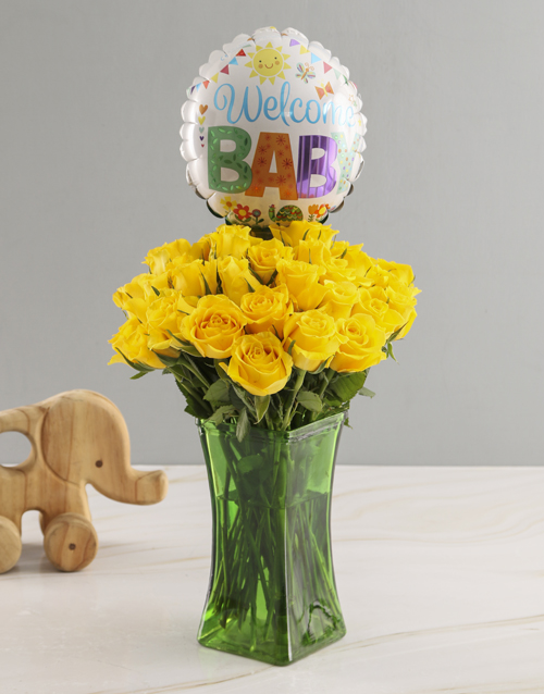 teddy-bears: Welcome Baby Rose Vase And Balloon Gift!