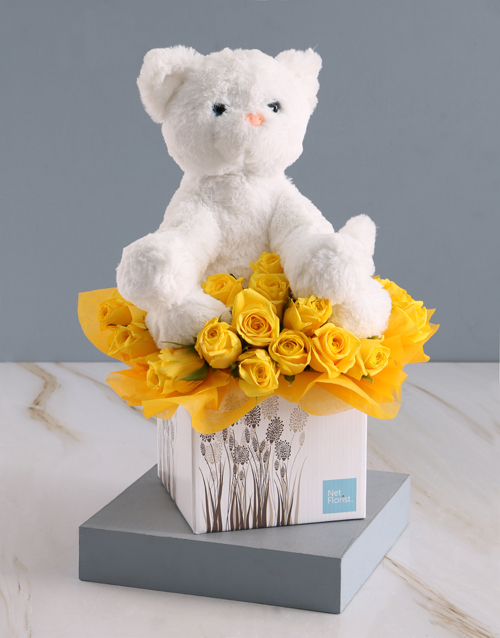 teddy-bears: Welcome Baby Teddy And Bright Blooms Gift!