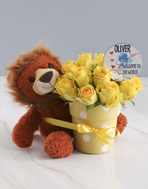 baby: Bright And Yellow Potted Roses And Teddy Gift!