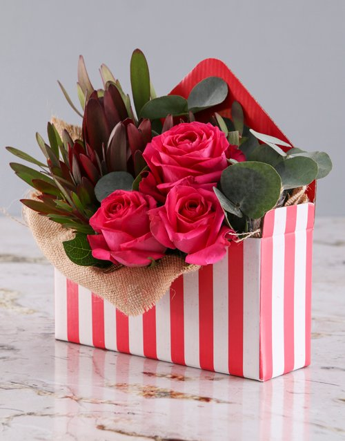 roses: Cerise Roses In Red And White Box!