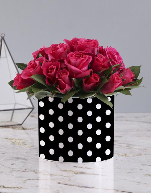 roses: Cerise Roses In Polka Dot Hat Box!
