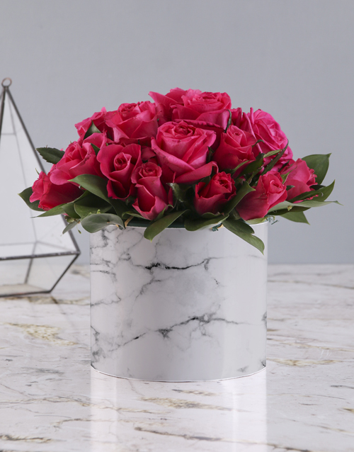 roses: Cerise Roses In Marble Print Hat Box!