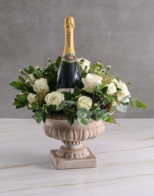 roses: White Roses In Stone Vase With Pongracz!