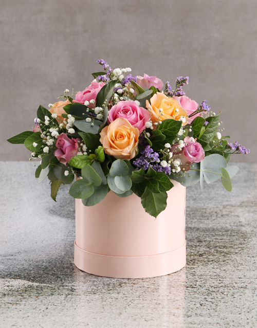 flowers: Enchanting Mixed Roses in Pink Hat Box!