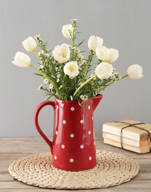 tulips: White Tulip In Dotted Red Jug!