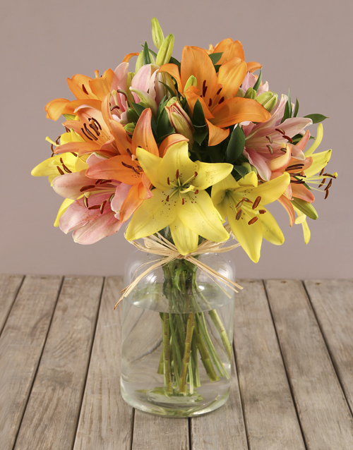 teachers-day: Mixed Lilies in Bottle Vase!