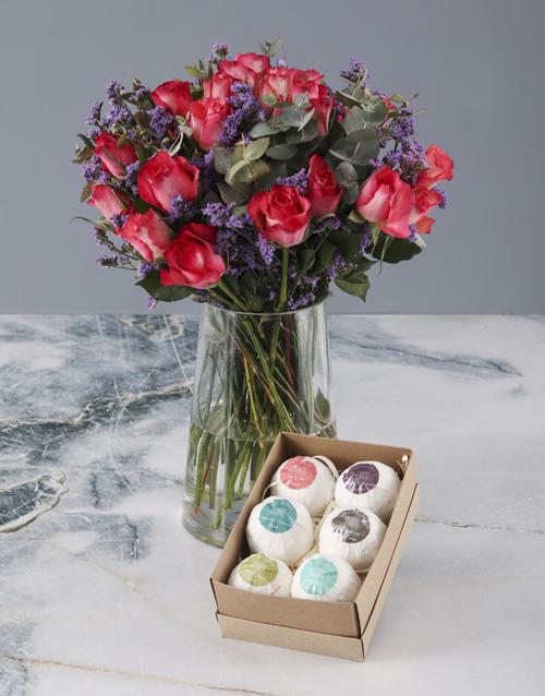 vase: Blissful Cerise Roses Combo!