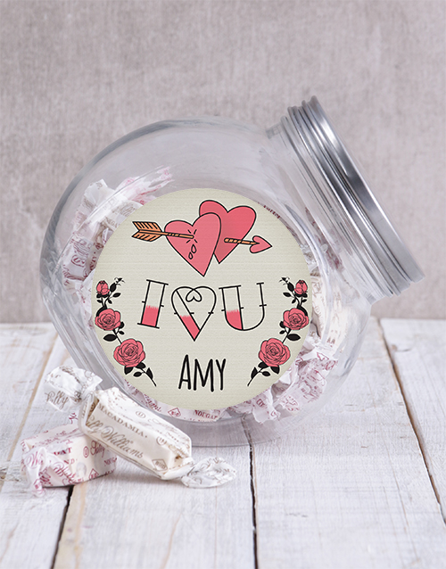 chocolate: Personalised I Heart You Candy Jar!