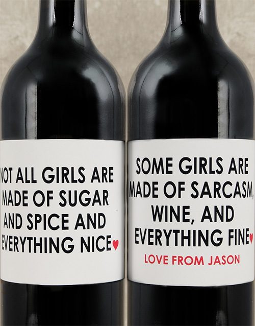 fine-alcohol: Personalised Sugar and Spice Wine Set!
