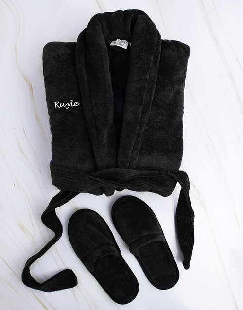 bath-and-body: Personalised Black Fleece Gown and Slipper Set !