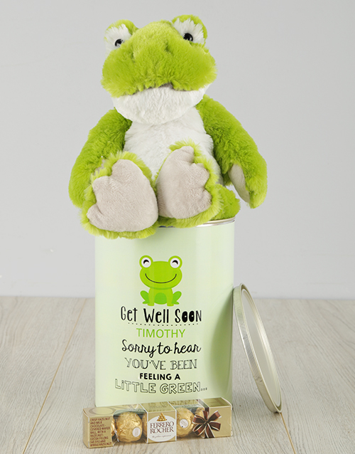 get-well: Personalised Get Well Green Frog Tin!