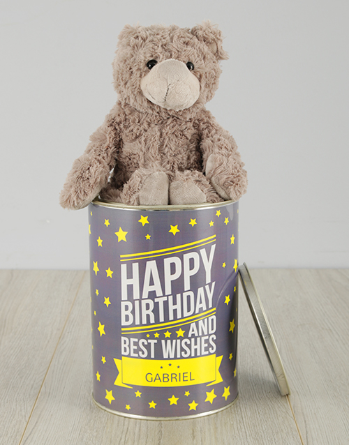 birthday: Personalisied Birthday and Best Wishes Teddy Tin!