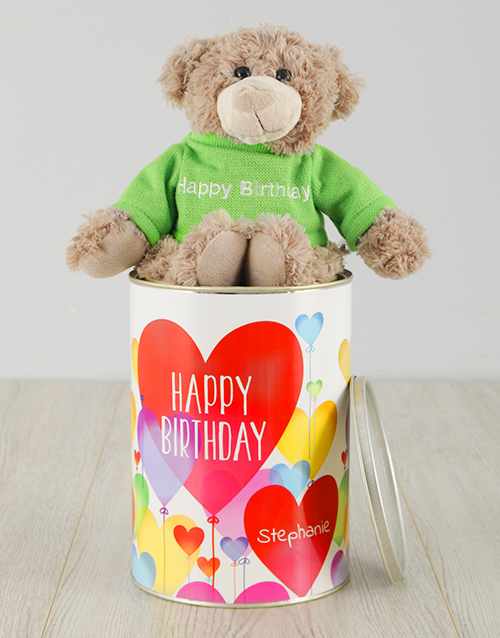 birthday: Personalised Birthday Hearts Teddy Tin!