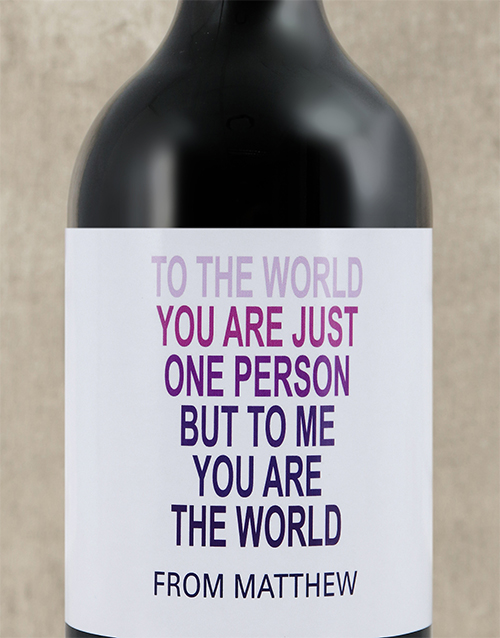mothers-day: Personalised The World To Me Wine!