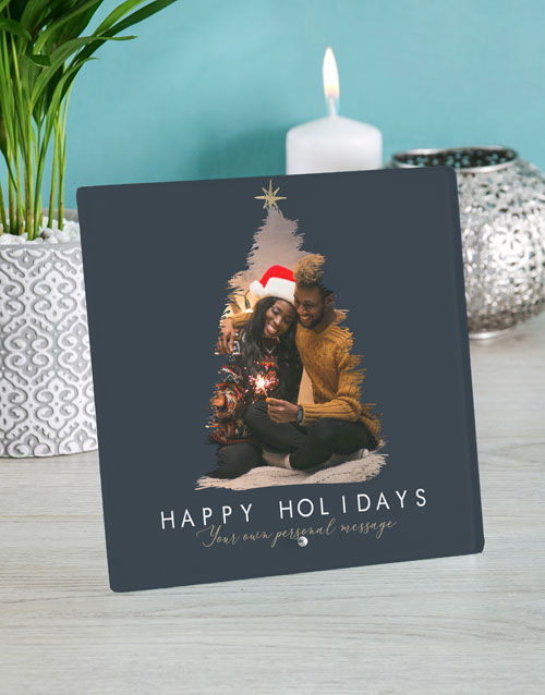 christmas: Personalised Happy Holidays Glass Tile!