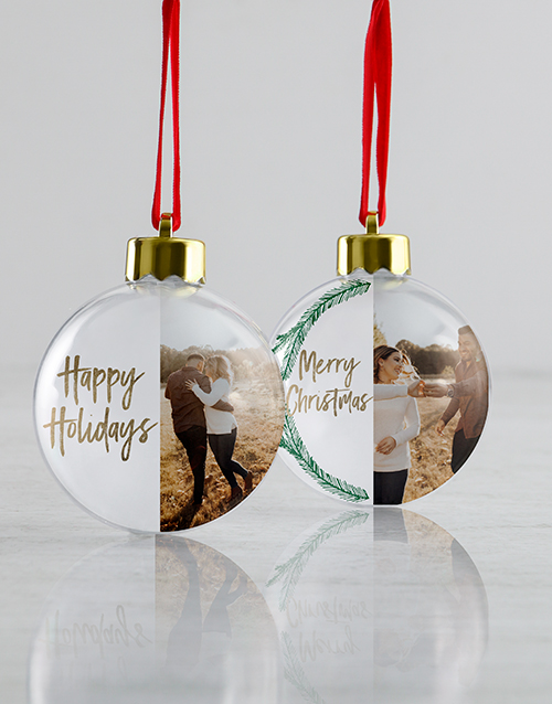 christmas: Personalised Happy Holidays Baubles!