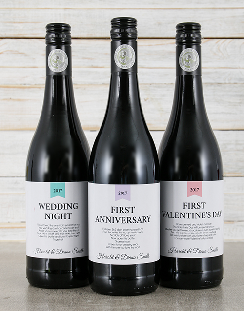 personalised: Personalised Wedding Firsts Wine Trio!