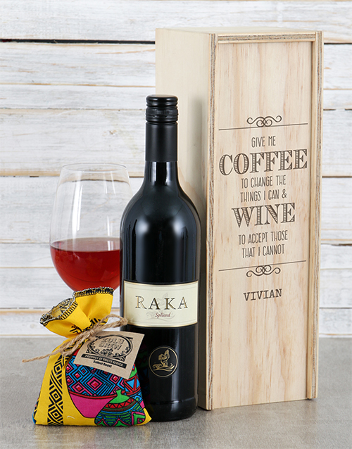 fathers-day: Personalised Give Me Coffee Wine Crate!