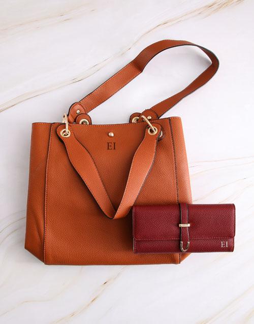 personalised: Personalised Tan Tote Bag and Long Purse!