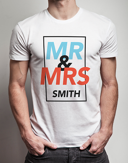 valentines-day: Personalised Mr And Mr White Tshirt!