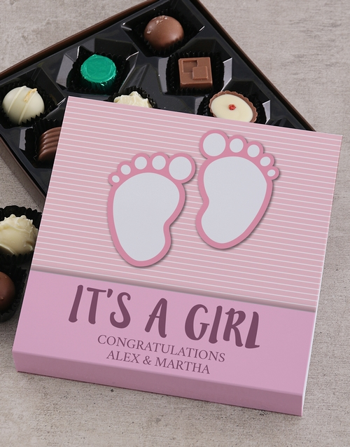 congratulations: Personalised Its a Girl Choc Tray!