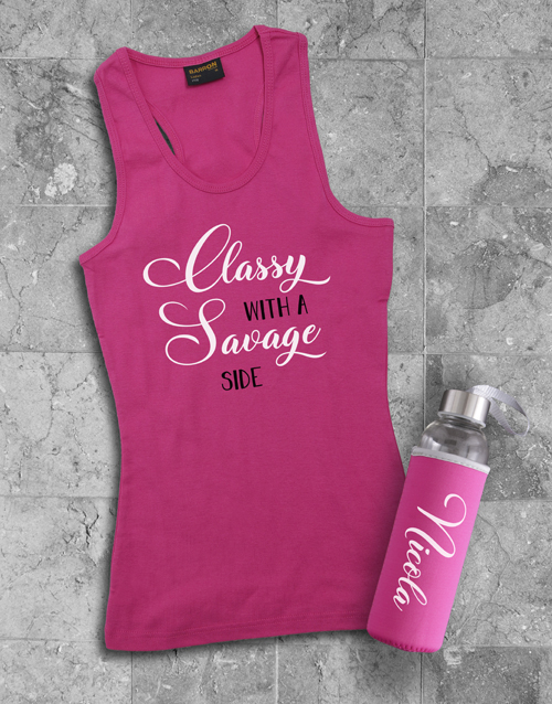 activewear: Personalised Classy Racerback and Water Bottle!